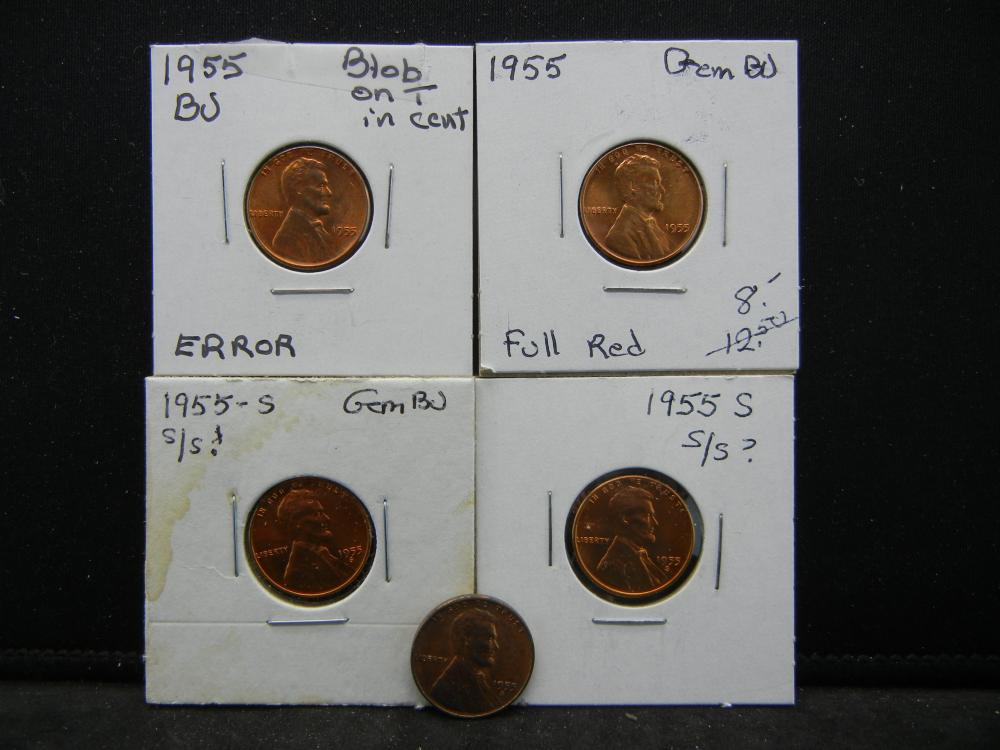 (2)1955, (3)1955-S Lincoln Wheat Cents.