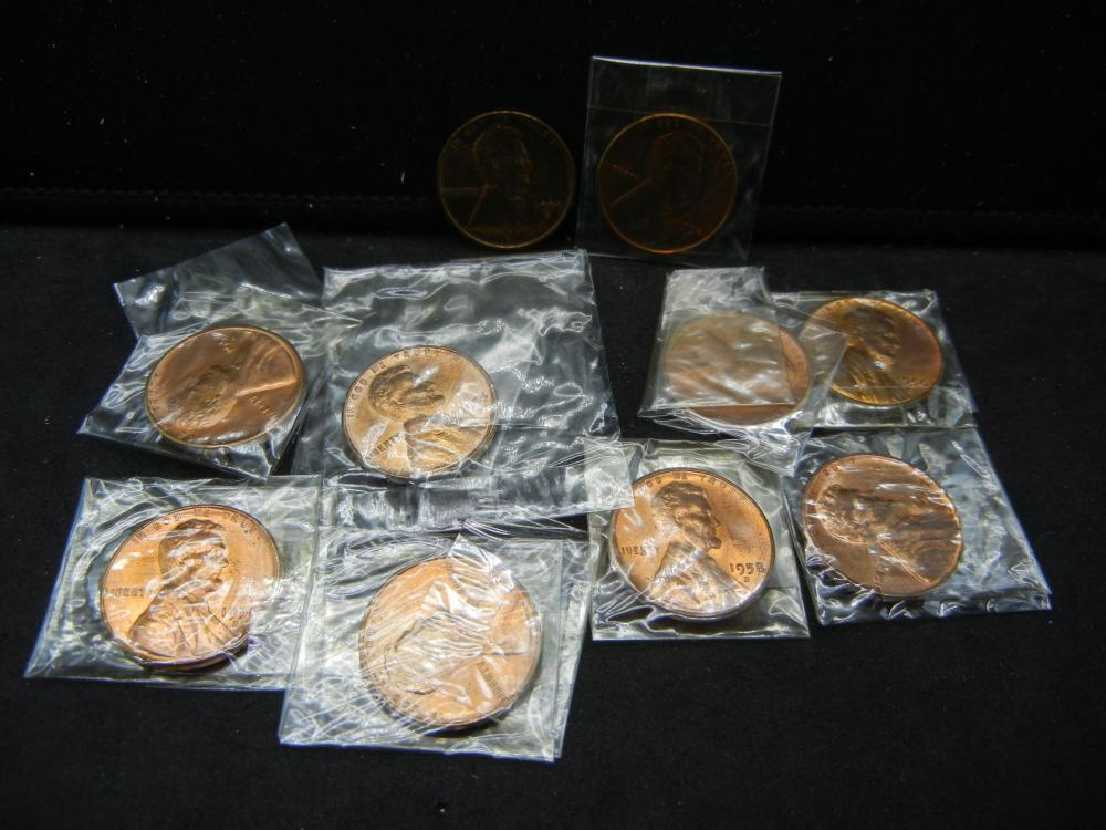 (10) 1950's Mixed Mint Lincoln Wheat Cents