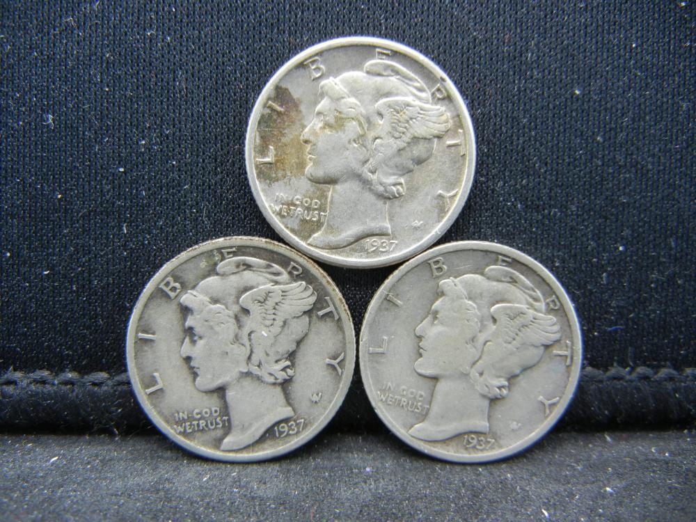 1937-P, D, S Mercury Dimes