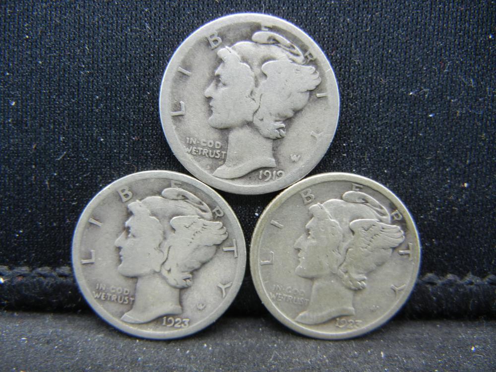 1923-P, S, 1919-S Mercury Dimes