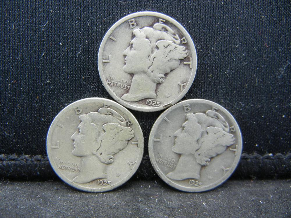 1925-P, D, S Mercury Dimes