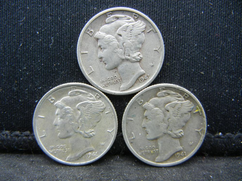 1941-P, D, S Mercury Dimes