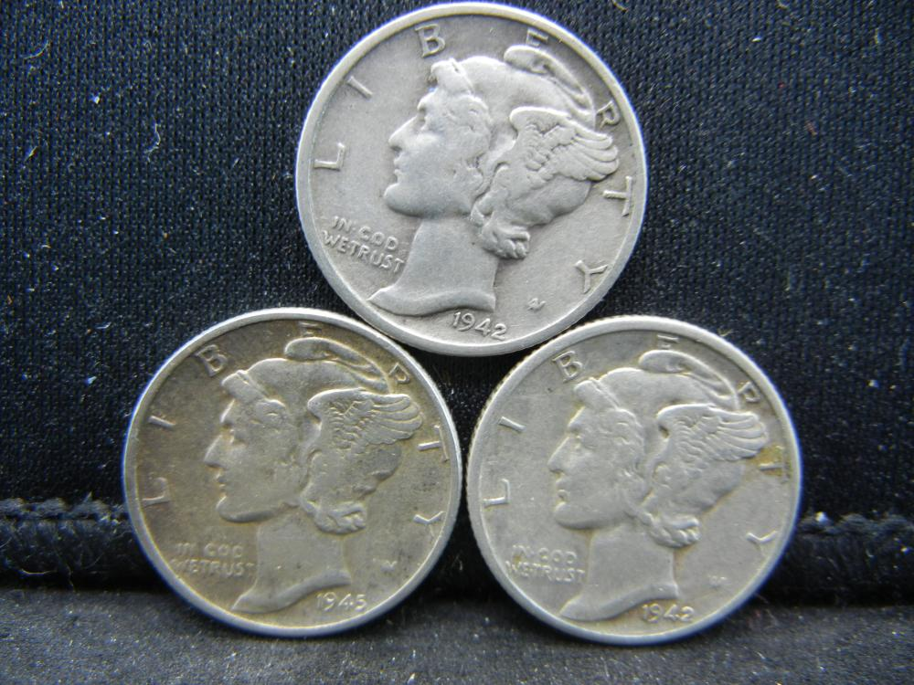 1945, 1942-D, S Mercury Dimes
