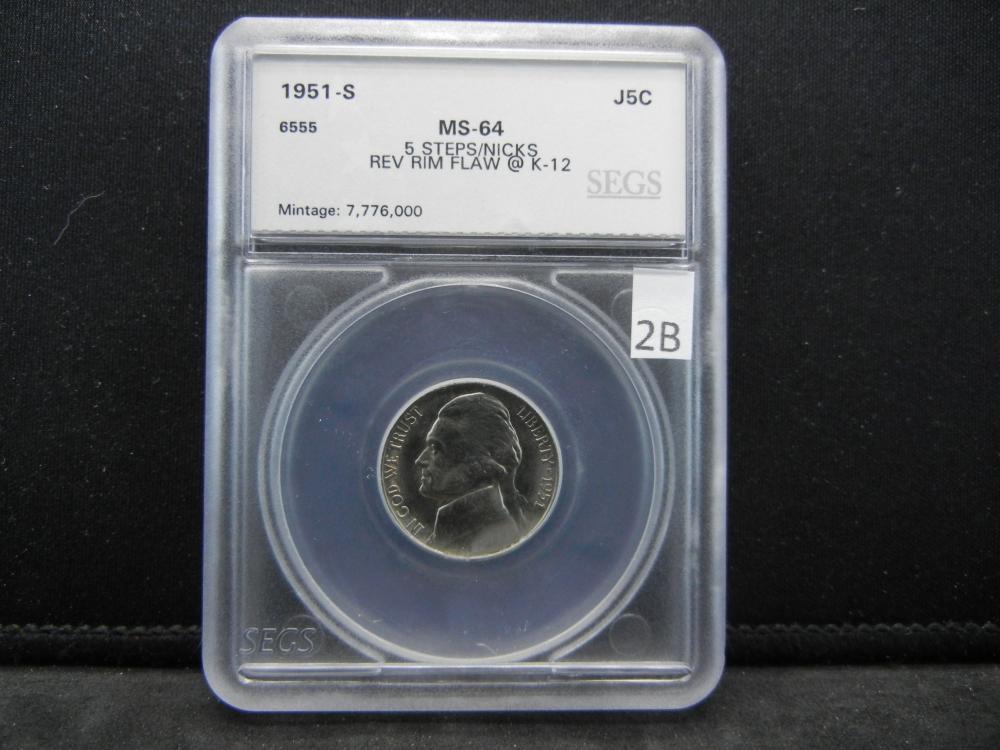 SEGS 1951-S MS64 5 Steps Jefferson Nickel