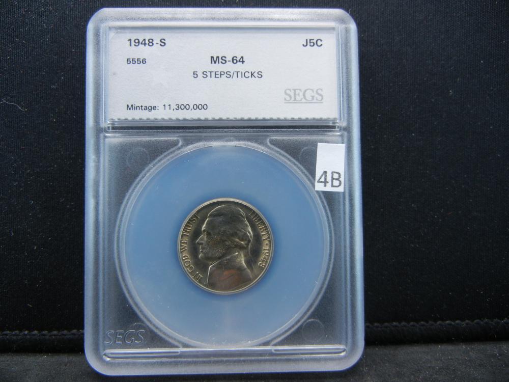 1948-S SEGS MS64 5 STEPS/TICKS Jefferson Nickel