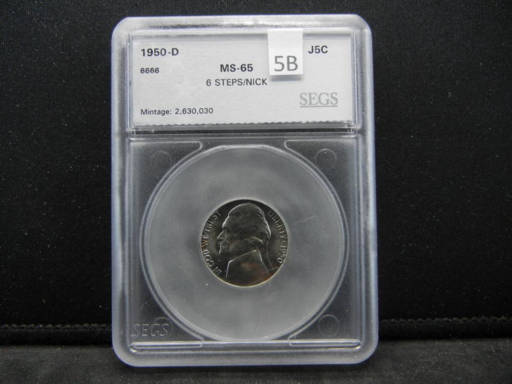 SEGS 1950-D MS65 6 Step/NICK Jefferson Nickel