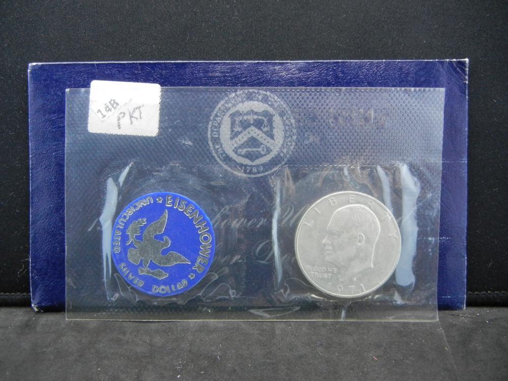 1971-S Eisenhower UNC 40% Silver Dollar