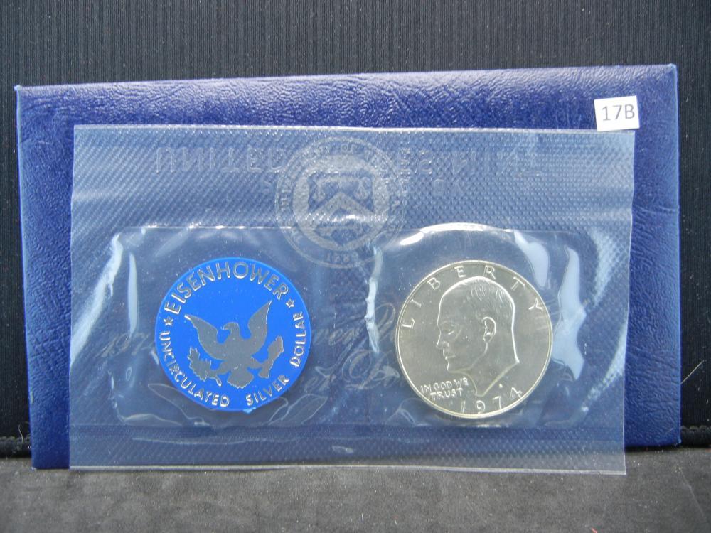 1974-S Eisenhower UNC 40% Silver Dollar