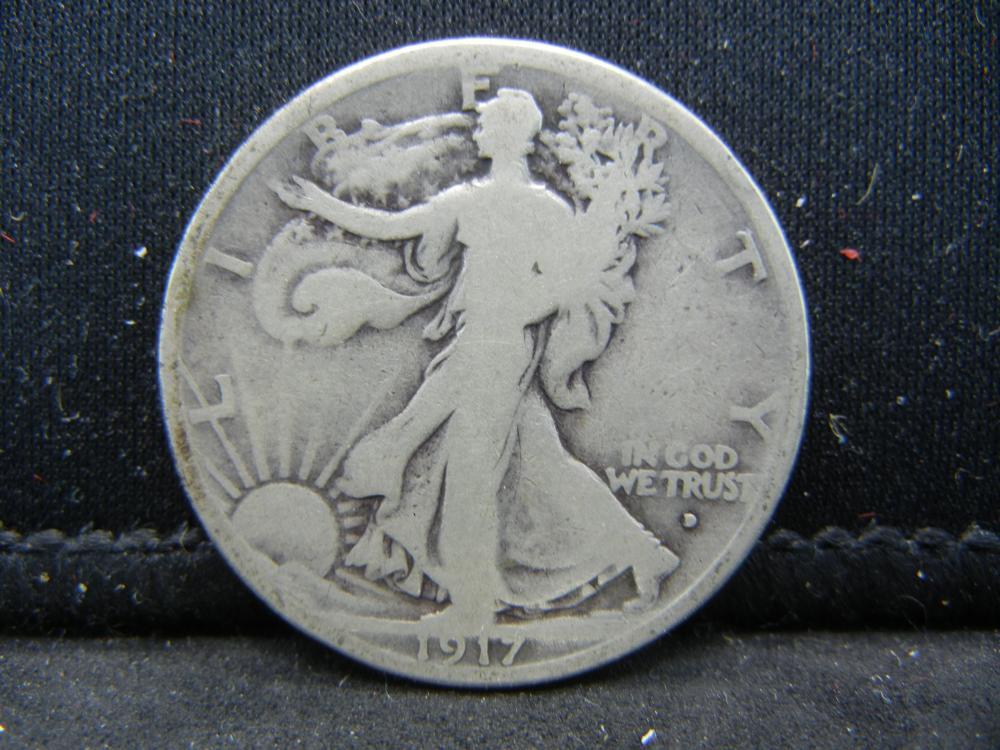 1917-D Obverse Walking Liberty Half Dollar