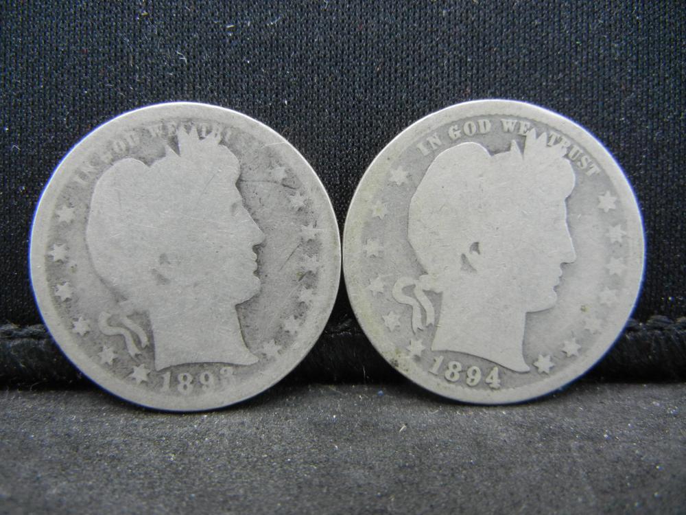 1893, 1894 Barber Quarters