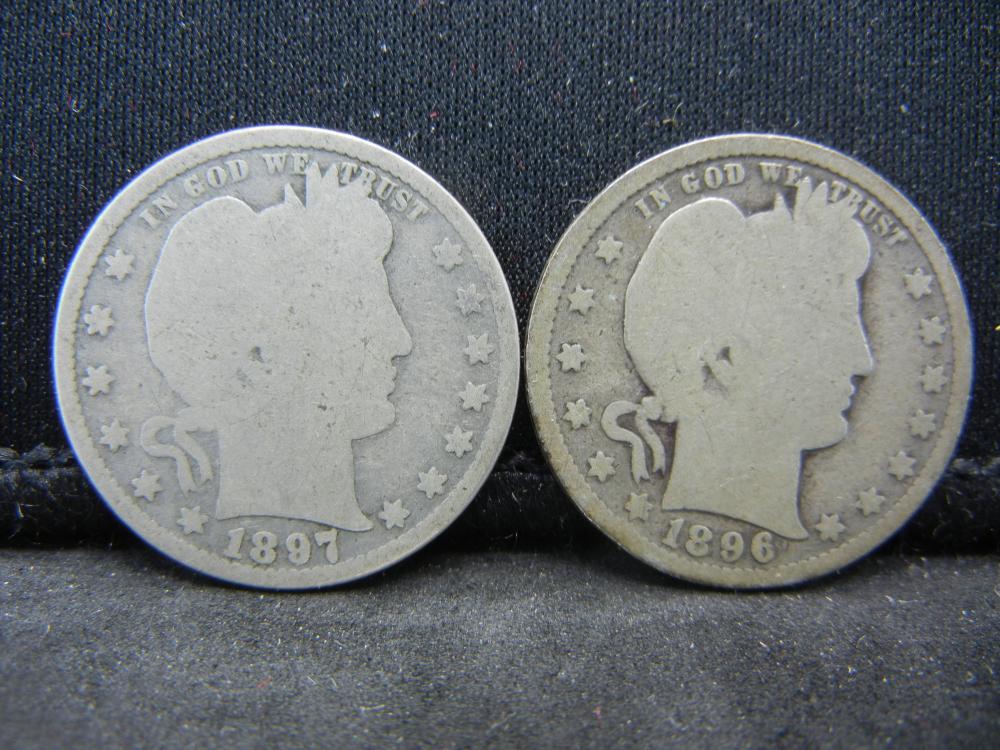 1896, 1897 Barber Quarters