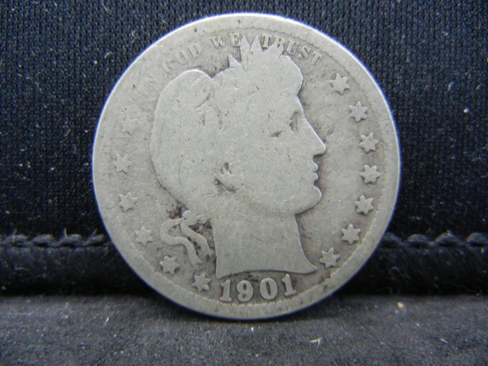 1901-Semi Key Date Barber Quarter