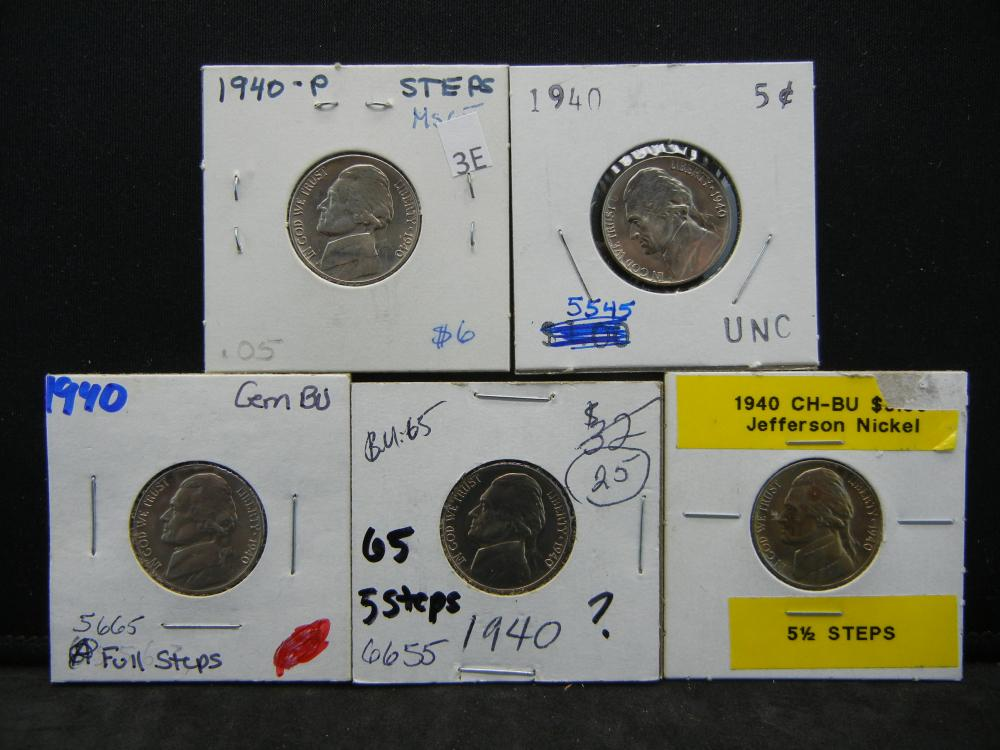 (5)1940 Jefferson Nickels Steps