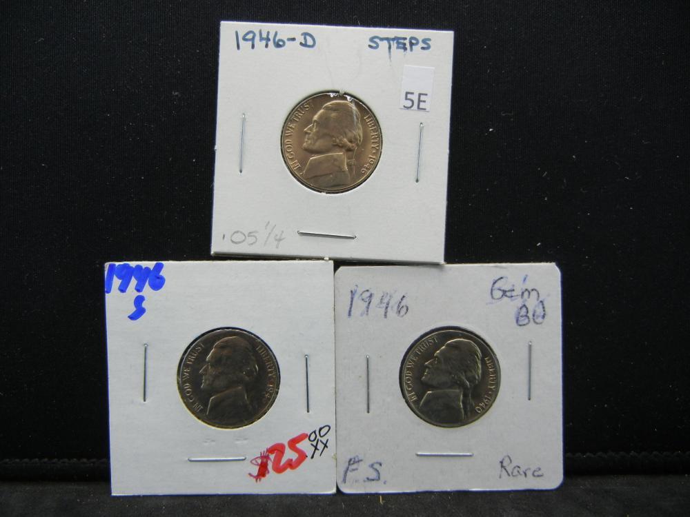 1940, 1946-D, S Jefferson Nickels Steps