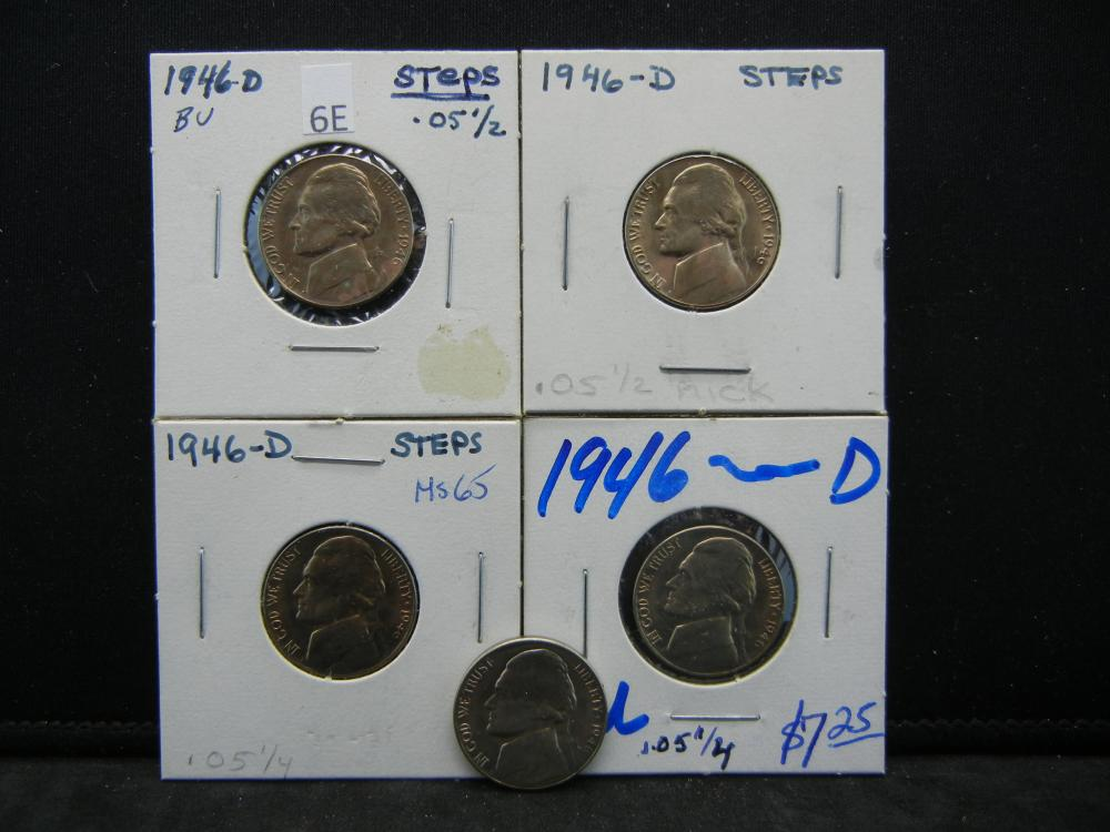 (5)1946-D Jefferson Nickels Steps
