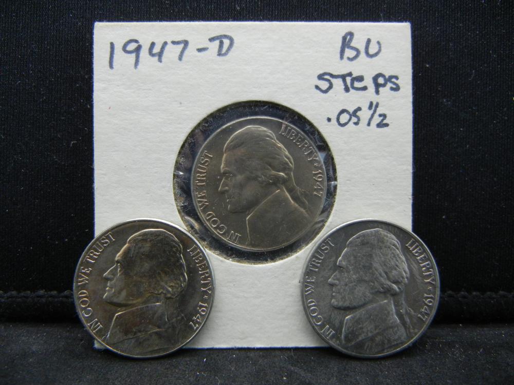 1947-P, D, S Jefferson Nickels Steps