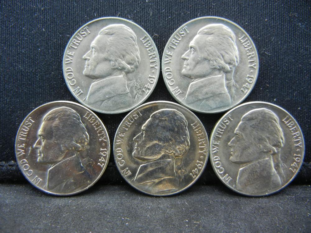 (5)1947 Jefferson Nickels Steps