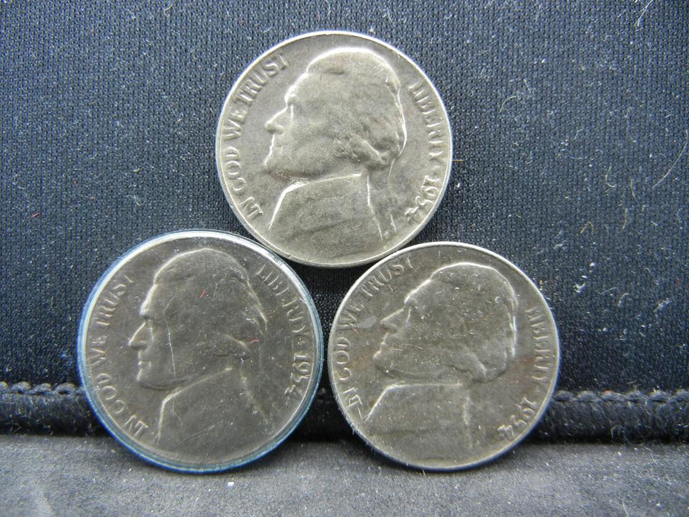 (3)1954 Jefferson Nickels Steps