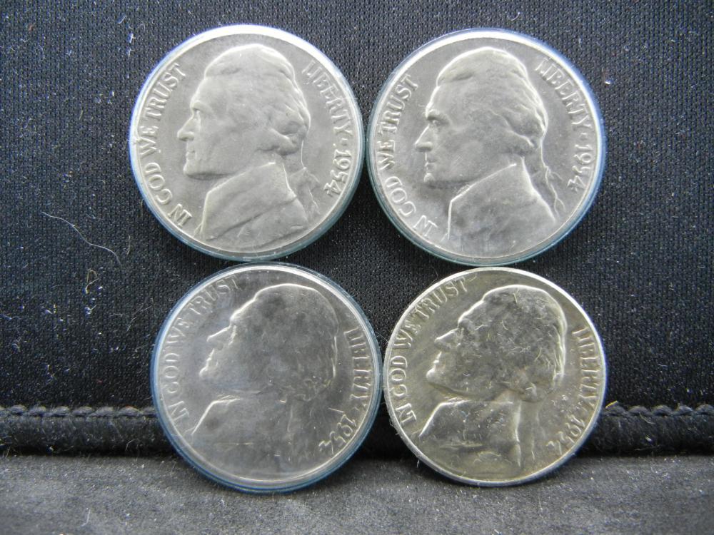 (4)1954-S Jefferson Nickels Steps