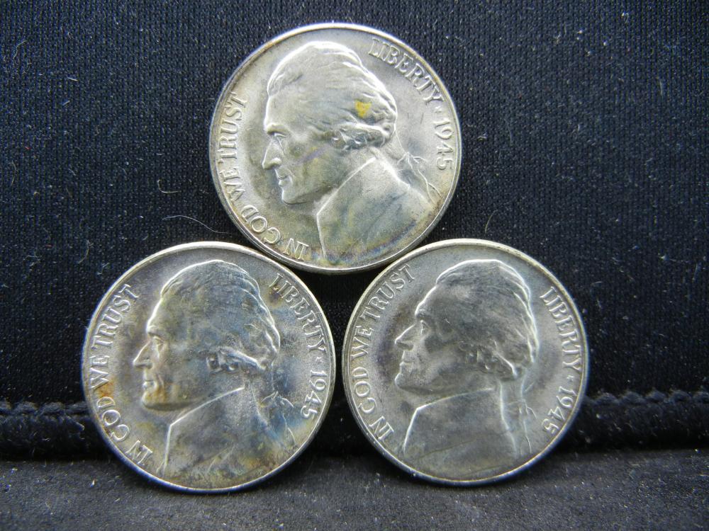 (3)1945-S Silver Jefferson Nickels Steps