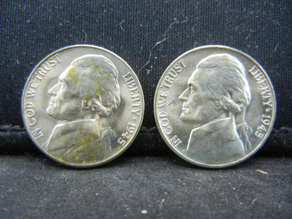 (2)1945-D Silver Jefferson Nickels Steps
