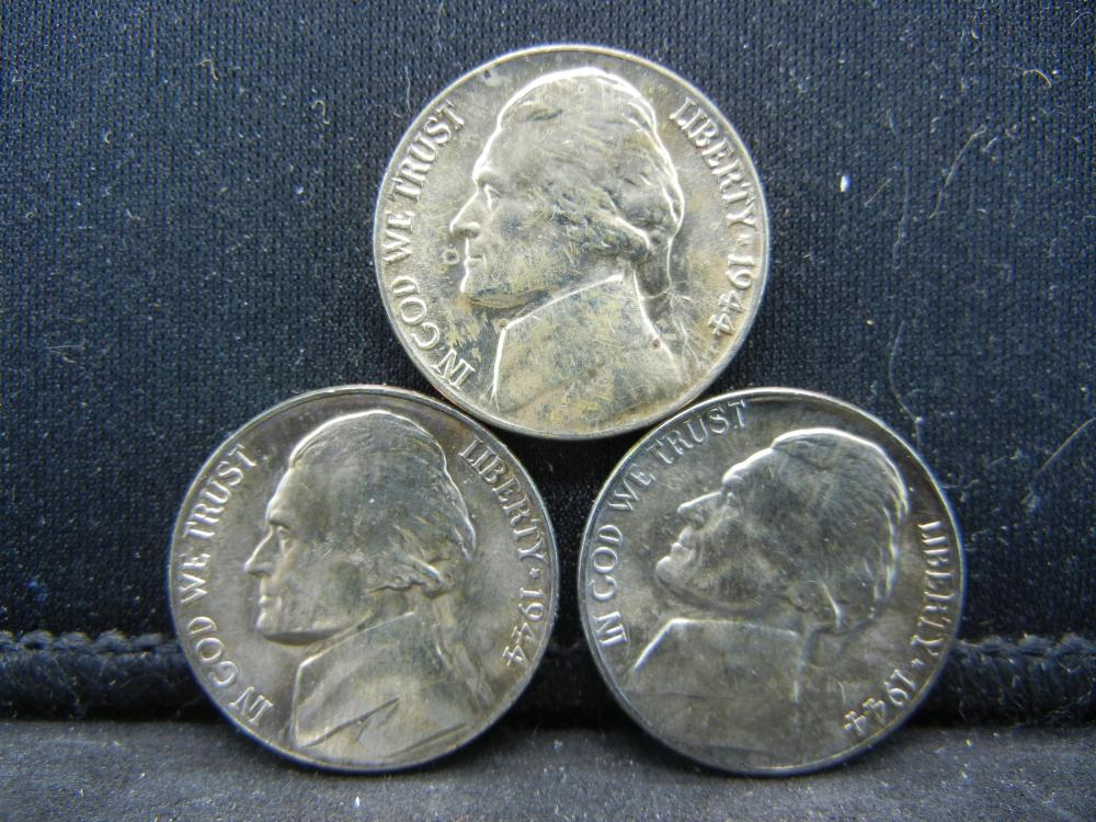 (3)1944-P Jefferson Nickels. 35% Silver
