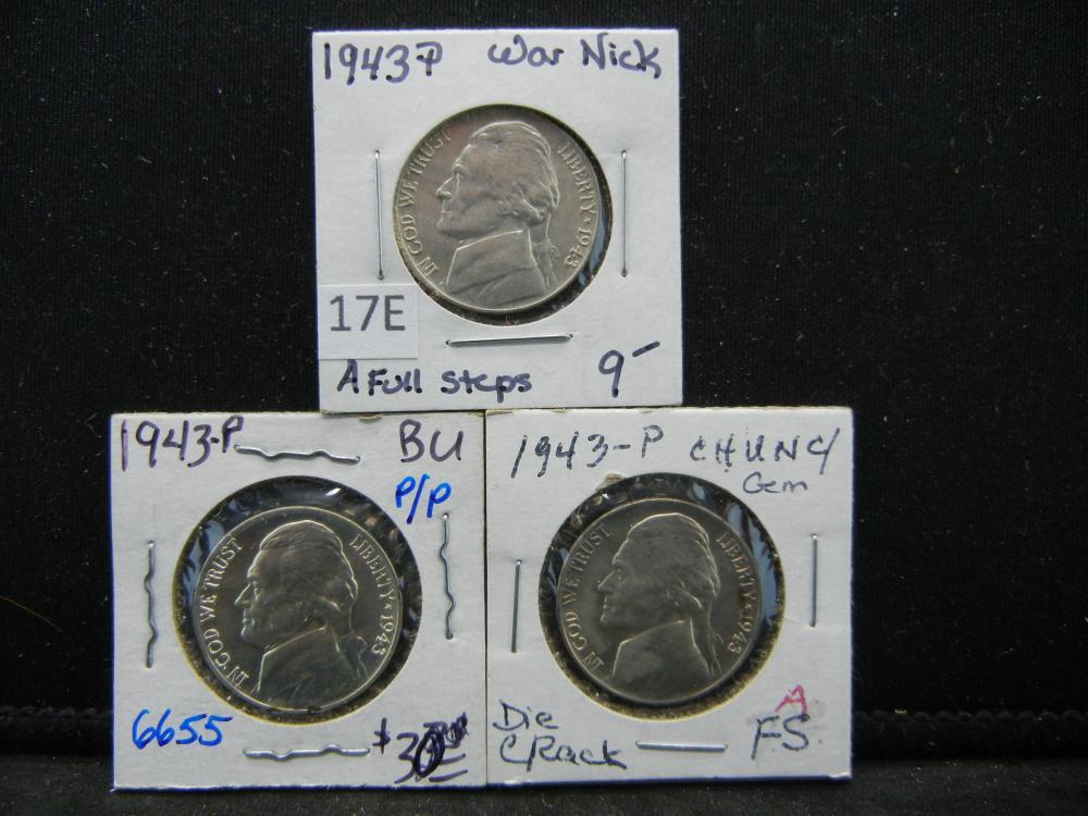 (3)1943-P Silver Jefferson Nickels
