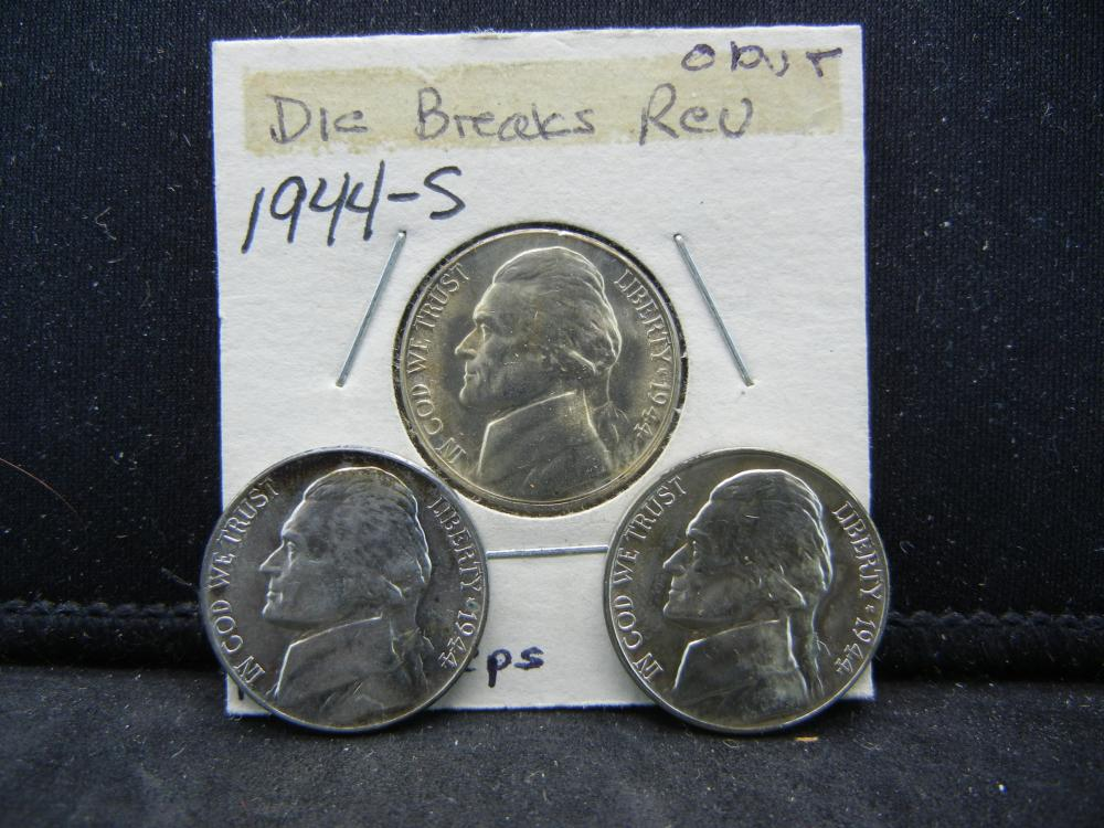 1944-P, D, S Jefferson Nickels. 35% Silver