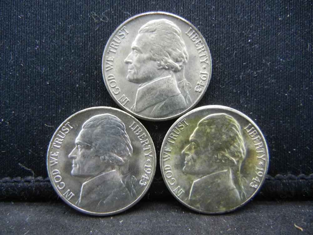 (3)1943-S Jefferon Nickels. 35% Silver