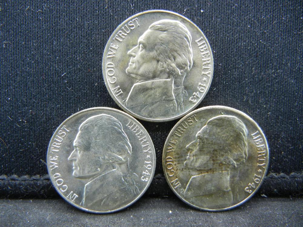 1943-P, D, S Jefferon Nickels. 35% Silver
