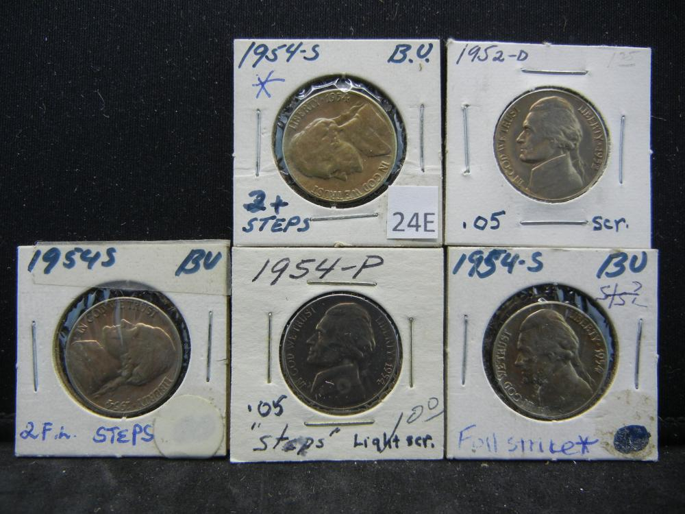 1952-D, 1954, (3)1954-S Jefferon Nickels