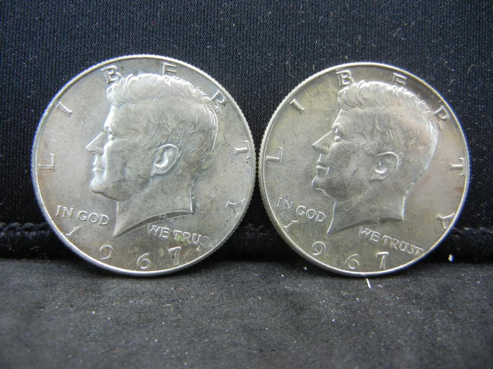 (2)1967 40% Silver Kennedy Half Dollars