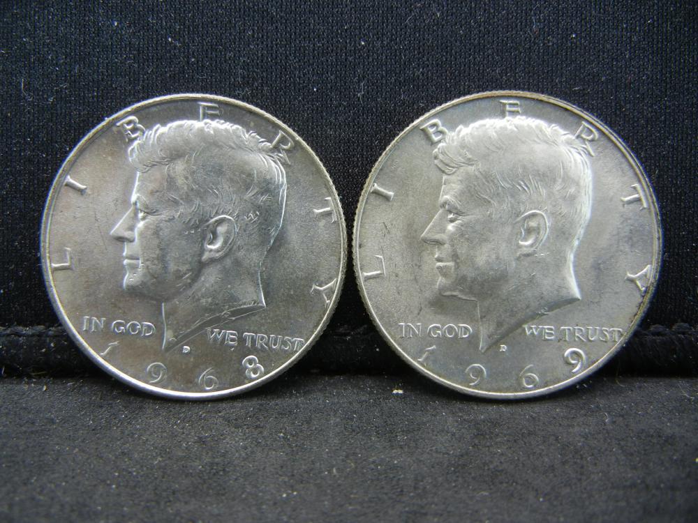 1968-D, 1969-D 40% Silver Kennedy Half Dollars