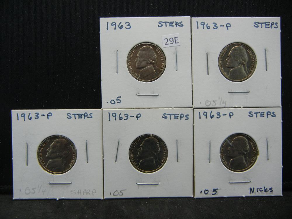 (5)1963 Jefferson Nickels Steps