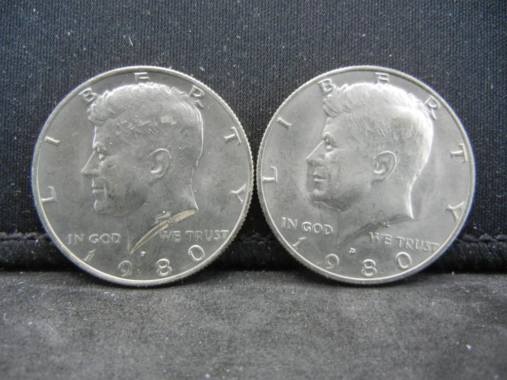 1980-P, D Kennedy Half Dollar