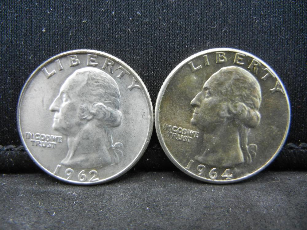 1962-D, 1964 Washington Quarters 90% Silver