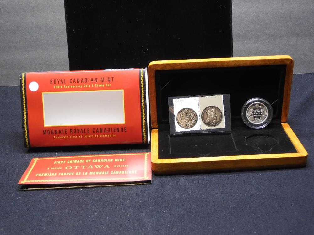 """2008 Canada .50 cent.9999 silver coin celebrating """"First Coinage of Canadian Mint."""" Limited Edition Stamp & Coin set. Original box with COA. GEM Proof. Mintage 16,000."""