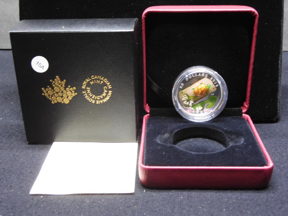 2015 Canada .9999 silver $20 depicting Venetian Glass Turtle with Broadleaf Arrowhead flower. COA and original box. GEM Proof. Mintage 12,500.