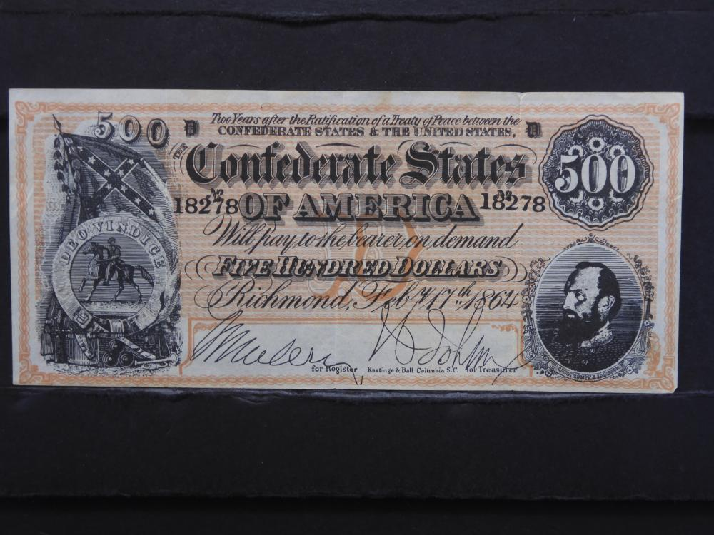 1864 Richmond, Virginia $500 Confederate Currency. Nice Note.