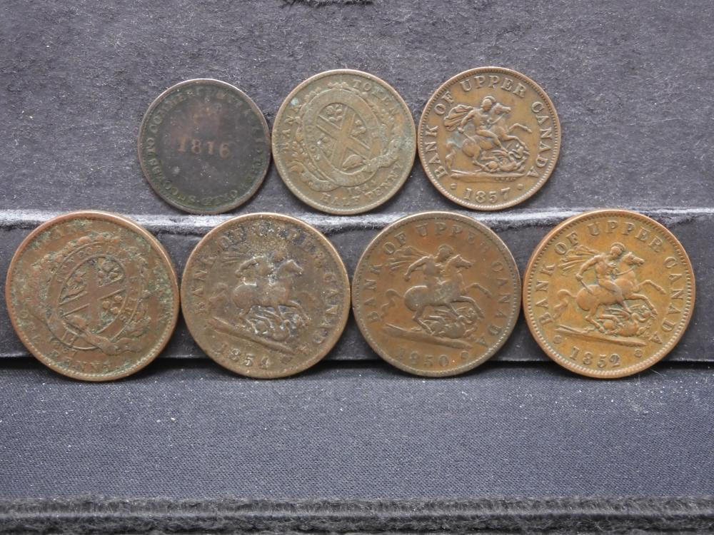 7 Different Canada Bank Tokens. Pre-1860.