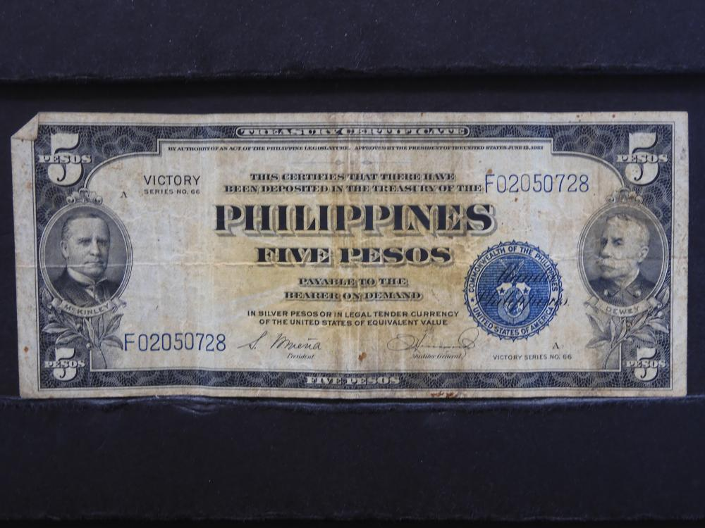"""1944 Philippines 5 Peso Note. """"Victory"""". Circulated."""