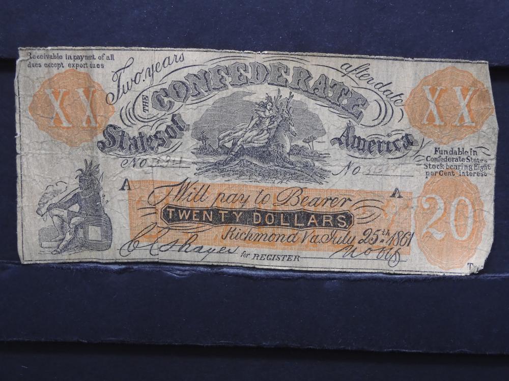 1861 Richmond, Virginia $20 Confederate Currency. Low Grade.