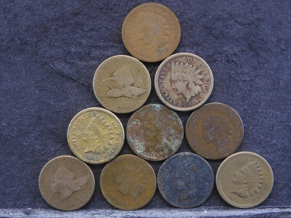 1857-1860, 1863-1865, 1867, 1876, + 1878 1 Cent. All Low Grade. Nice Fillers. 10 Total Coins.