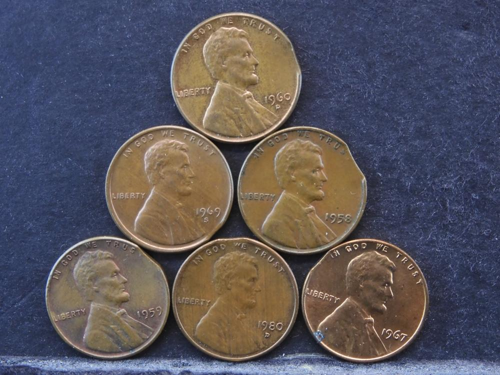 6 Error One Cent Clipped Planchets.
