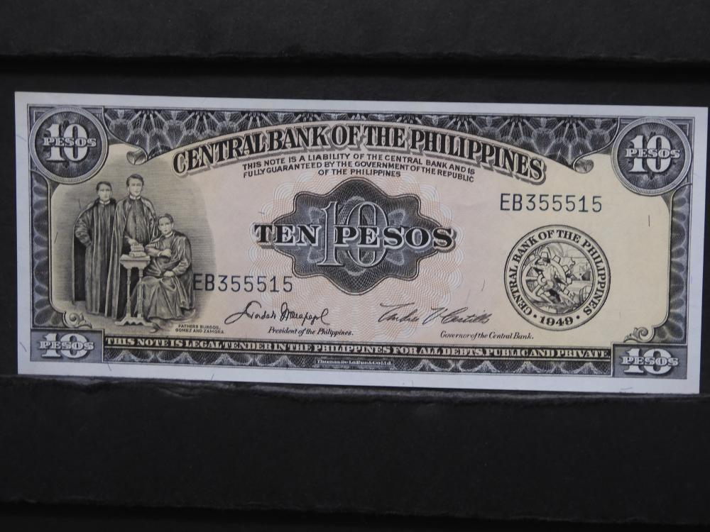 1949 Philippines 10 Pesos Note. Crisp UNC.