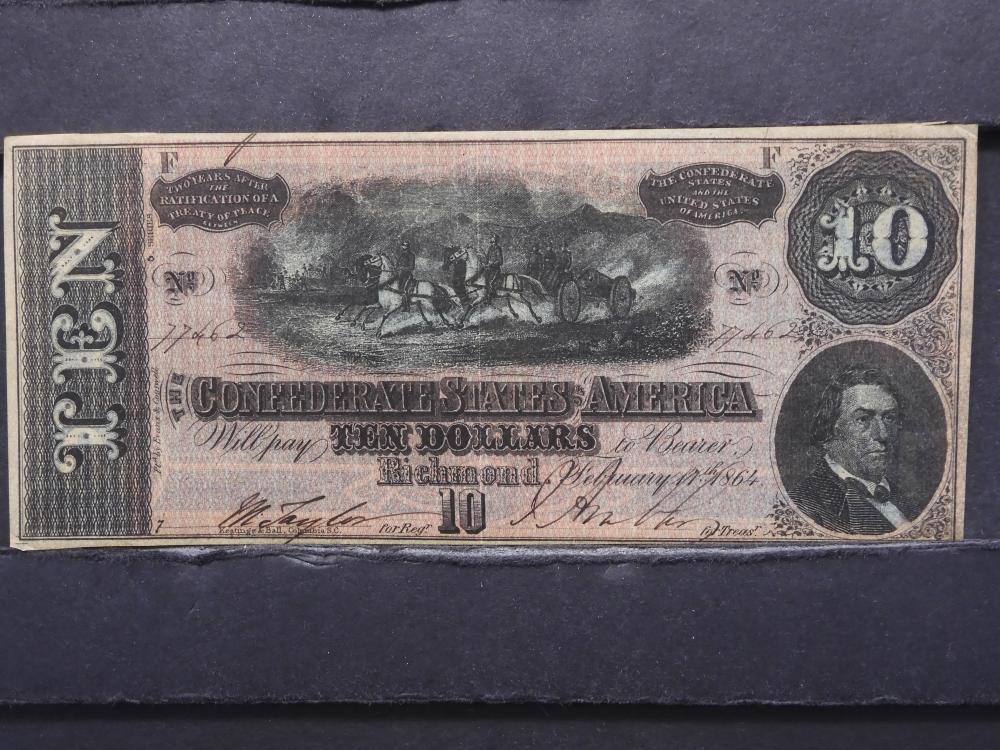 1864 Richmond, Virginia $10 Confederate Note. AU.