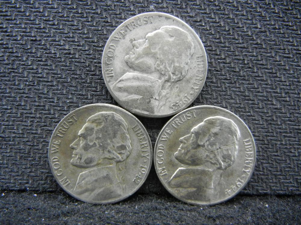 Lot 11T 1942 1943 1944 Jefferson Nickels