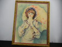 Woman with Umbrella Print in Frame 30.5