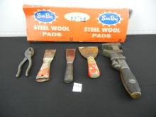Lot of Tools including Wood Plane, Hack Saw, Adjustable Wrench and others