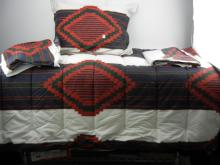Ralph Lauren Twin Comforter, Bed Skirt, Flat Sheet, Pillow and Pillow Case, Small Stain on Comforter